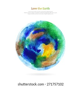Vector watercolor earth isolated on white backdrop. Hand drawing planet illustration. Earth day.