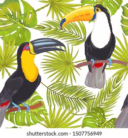 Vector with watercolor effect tropical toucan birds with  philodendron areca palm, fan palm seamless pattern. Colorlful tropic background on white.