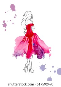 Vector watercolor fashion girl silhouette for beauty illustration.