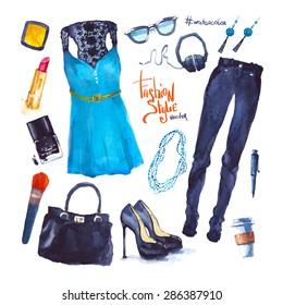 Vector Watercolor Fashion look
