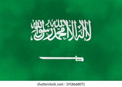 Vector watercolor flag of Saudi Arabia.