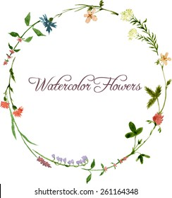 vector watercolor floral frame with wild flowers, hand drawn template