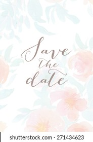 Vector Watercolor Floral Save the Date Wedding Invitation Template