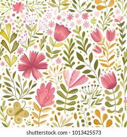 Vector watercolor floral seamless pattern. Handdrawn botanical backdrop