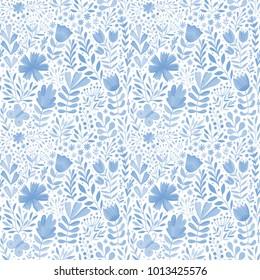 Vector watercolor floral seamless pattern. Handdrawn botanical backdrop
