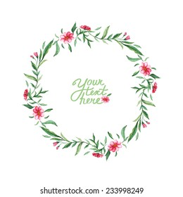 vector watercolor flowers circle frame. It can be used for invitation, card, postcard, cover.