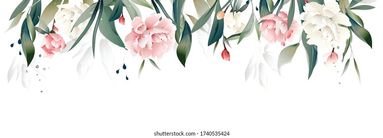 vector watercolor flowers. floral illustration, Leaf and buds peony. Botanical composition for wedding or greeting card. Border, branch of flowers - peonies
