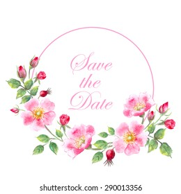 Vector watercolor flowers. Hand drawn wild rose flower, leaves, buds and berry composition for romantic background, save the date card. Round wreath.
