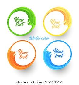 vector watercolor frame for logo, text