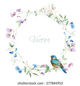 vector watercolor frame with sweet peas with bird