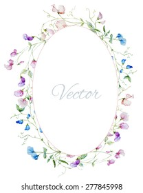 vector watercolor frame with sweet peas