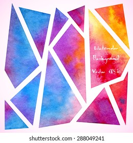 vector watercolor geometric background: colorful bright triangles and polygons