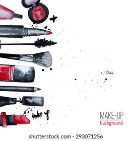 Vector watercolor Glamorous makeup set of  cosmetics with nail polish and lipstick.Creative design for card, web design background, book cover.