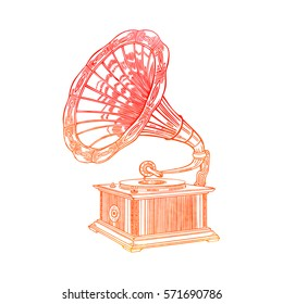 Vector watercolor gramophone on a white background. Gramophone sign, gramophone logo.