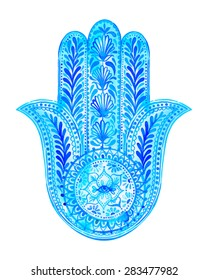 vector watercolor hamsa illustration. A traditional middle eastern amulet for luck, success. antique superstition for a guardian eye  from bad luck. lace paisleys and plants,  artistic drawing.