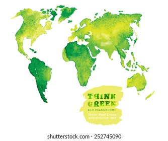 Vector watercolor hand drawn Illustration of environmentally friendly World map. Think Green. Ecology Concept.