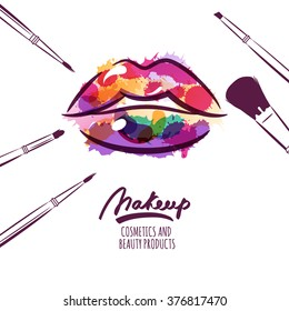 Vector watercolor hand drawn illustration of colorful womens lips and makeup brushes. Watercolor background. Concept for beauty salon, cosmetics label, cosmetology procedures, visage and makeup.