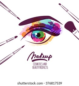 Vector watercolor hand drawn illustration of colorful womens eye and makeup brushes. Watercolor background. Concept for beauty salon, cosmetics label, cosmetology procedures, visage and makeup.