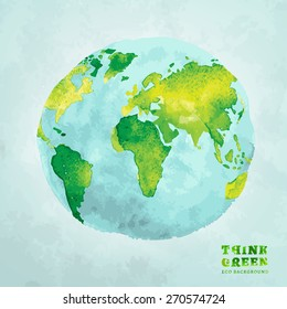 Vector watercolor hand drawn painted Illustration of environmentally friendly World map. Think Green. Ecology Concept. Globe watercolour vector image.
