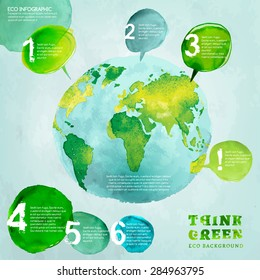 Vector watercolor hand drawn painted Illustration of environmentally friendly World map. Think Green. Ecology Concept with globe image. Info graphic elements for poster, brochure and leaflet design.