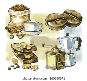 vector watercolor hand drawn picture of coffee theme