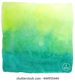 Vector watercolor hand drawn square isolated on white backdrop. Colorful gradient handmade big square for texture, postcard, design, logo, label and other.