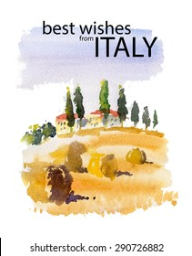 Vector watercolor illustration of Italy village shield country side sunny summer nature. Warm memory postcard design, invitation or book illustration. Wine, agriculture label. Outdoor, Italian coast.