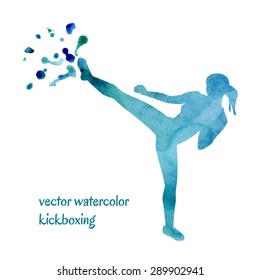 Vector watercolor illustration of kickboxing woman. Bright blue silhouette of a slim girl doing side kick. Colorful artistic drips and stains with ragged edges.