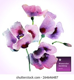 Vector watercolor illustration with purple summer flowers.Nature art, hand drawing, trace.