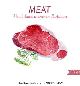 Vector watercolor illustration of raw red meat. Hand drawn realistic steak with greenery and dill. Artistic isolated food object for menu design and culinary recipe.