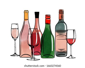 Vector watercolor illustration set of alcohol bottles and glasses