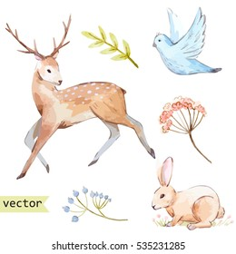 Vector watercolor  illustration set of prancing deer, plants and cute rabbit, bird