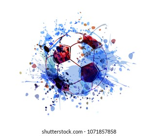 Vector watercolor illustration of a soccer ball