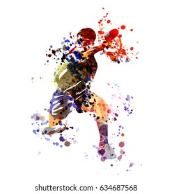 Vector watercolor illustration table tennis player