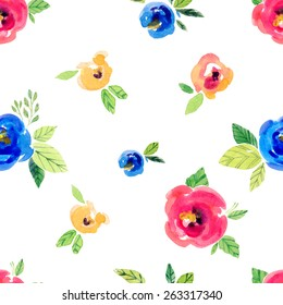 Vector watercolor illustration for textile and different holidays. Seamless pattern with watercolor  flowers on the white background. Pink, yellow, blue peonies and rose