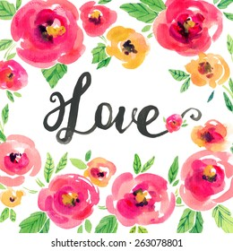 Vector watercolor illustration for Valentine's day, Women's Day, wedding ,birthday, other holiday. Design elements with flower wreath on the white background. Pink, yellow peonies, lettering