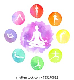 Vector watercolor illustration of yoga lessons. Circle of silhouettes of people in yoga positions in bright spots of rainbow colors.