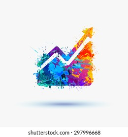 Vector watercolor Infographic, Growing sales chart icon
