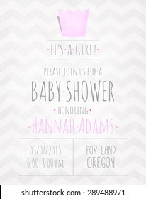 Vector watercolor invitation to the baby shower for a girl with a crown and a zigzag pattern