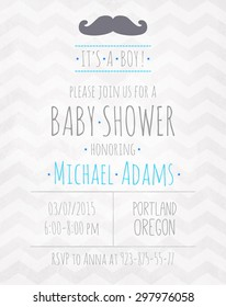 Vector watercolor invitation to the baby shower fo a boy with a mustache and a zigzag pattern