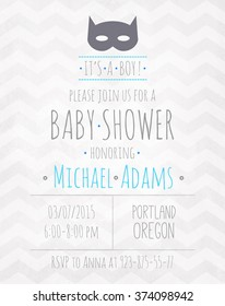 Vector watercolor invitation to the baby shower fo a boy with a mask bat and a zigzag pattern