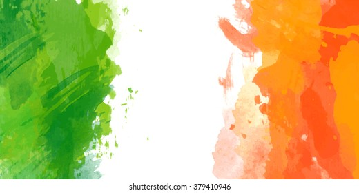 Vector watercolor irish flag