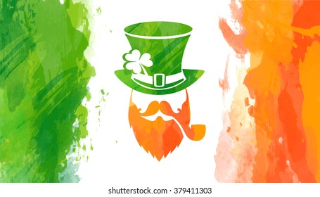 Vector watercolor irish flag with leprechaun and Saint Patrick's greeting