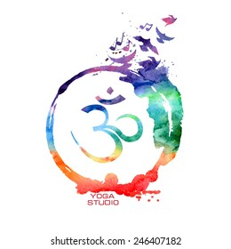 Vector watercolor isolated Om sign label. Rainbow Yoga concept