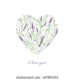 vector watercolor lavender heart card. It can be used for card, postcard, cover, invitation, wedding card, mothers day card, birthday card.