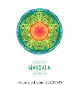 Vector watercolor mandala. Decor for your design, lace ornament. Round pattern, oriental style