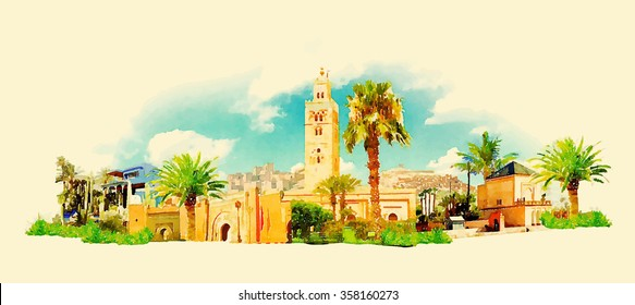 vector watercolor MARRAKECH city illustration