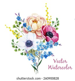 vector, watercolor, mimosa, forget-me, peony, anemone, bouquet