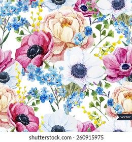 vector, watercolor, mimosa, forget-me, peony, anemone, pattern,