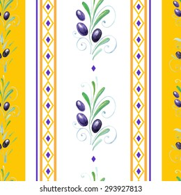 vector watercolor olives seamless pattern. Traditional Provence pattern.It can be used for wallpaper, fabric design, textile design, cover, wrapping paper, banner, card, background, recipe, menu